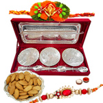 Silver plated set of  bowls with a tray and spoons with Rakhi and Dry Fruit and Roli Tilak Chawal
