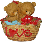Passionate Couple Teddy with Twin Hearts in a Love Basket