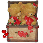 Provocative Twin Teddy with Hearts and Roses in a Box