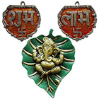 Designer Metallic Subh Labh with Ganesha Wall Hanging