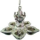 Auspicious Ganesha with Designer Metallic Silver 5 pcs Hanging Diya Set