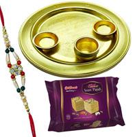 Soan Papri from <font color=#FF0000>Haldiram</font> with Silver Plated Thali and  free Rakhi, Roli Tilak and Chawal