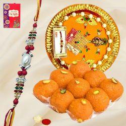 Unique Thali with Multicolored Rakhi