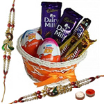 Attractive Chocolate Gift Hamper with Peacock Shaped Rakhi