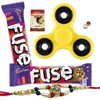 Majestic Cosset Assortment of Fidget Hand Spinner, Cadbury Chocolate and Designer Rakhi