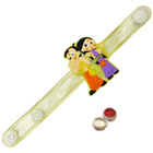 Exquisite Chota Bheem and Chutki Wrist Band Rakhi