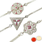 Traditional Three Rhodium Plated Rakhis