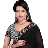 Comeliness's Blossom Black Georgette Saree