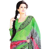 Splendid Green Faux Georgette Saree