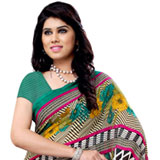 Multi- Colored Heavy Renial Georgette Printed Saree