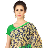 Chic Weightless Georgette Printed Saree in Black and Green Shade