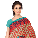 Amazing Red and Blue Shaded Weightless Georgette Floral Printed Saree