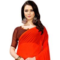 Dazzling Art Chiffon Designer Saree in Red