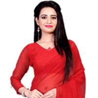 Smashing Marble Chiffon Printed Saree in Red