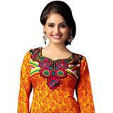 Fabulous Art Silk Women Printed Suit in Multi Colour