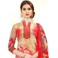 Wonderful Floral Print Salwar Suit in Spun Cotton Fabric for Fashionable Ladies