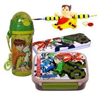 Go-to-School Set from Ben 10 with Ben 10 Rakhi and Roli Tilak Chawal
