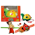 Twirly Whirly Turtle  from Funskool with 2 Kids Rakhi and Roli Tilak Chawal