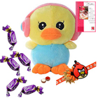 Crazy Duck with Earphone with Angry Bird Rakhi and Chocolates Roli Tilak Chawal