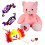 Big Teddy Bear  with Free Kids Rakhi and Chocolates