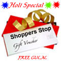 Shoppers Stop Gift Vouchers Worth Rs. 2500  with free Gulal/Abir Pouch