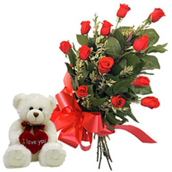 12 Red Roses Bunch with a small teddy bear to Malkajgiri