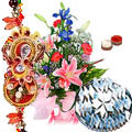 Bouquet of Seasonal Flowers and 1/2 Kg. <font color=#FF0000>Haldiram</font>'s Kaju Katli