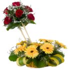 Lovely 7 Roses and 8 Gerberas of Designer Arrangement with Incredible Love