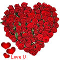 <u><font color=#008000> MidNight Delivery : </FONT></u>:Exclusive <font color =#FF0000> Dutch Red </font>   Roses  in  Heart Shaped Arrangement