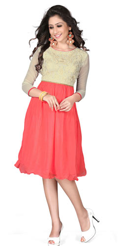 Super Attractive Georgette Embroidered Beige and Pink Coloured Kurti