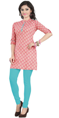 Beautifully Designed Pink Coloured Cambric Cotton Printed Kurti