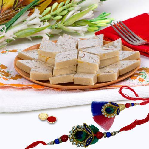 Furbish pack of Stylish Bhaiya, Bhabhi Rakhi with 400gm Kaju Katli