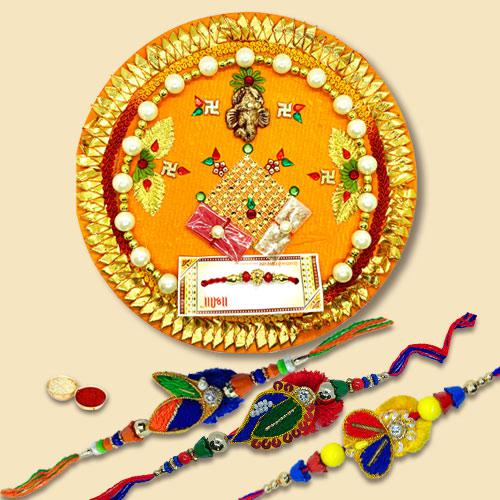 Simple Combo Of 3 Zardoshi Bhaiya Rakhi  With Rakhi Thali