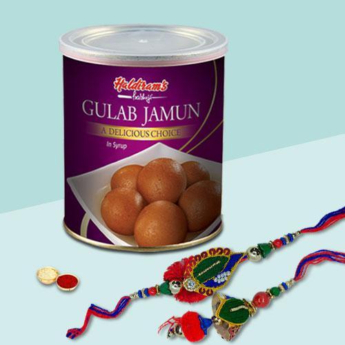 Delectable Gulab Jamun Tin with Bhaiya Bhabhi Rakhi Set