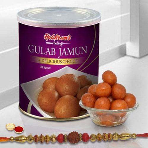 Beautiful Selection of One Rakhi with Yummy Gulab Jamun Tin