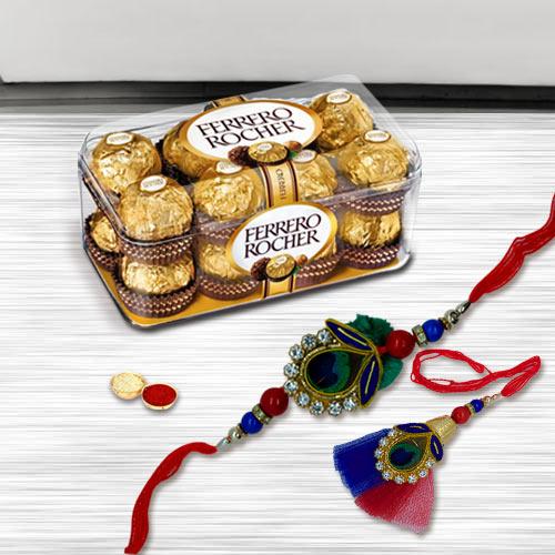 Delightful Rakhi Lumba Set with Ferrero Rocher Chocolate Pack