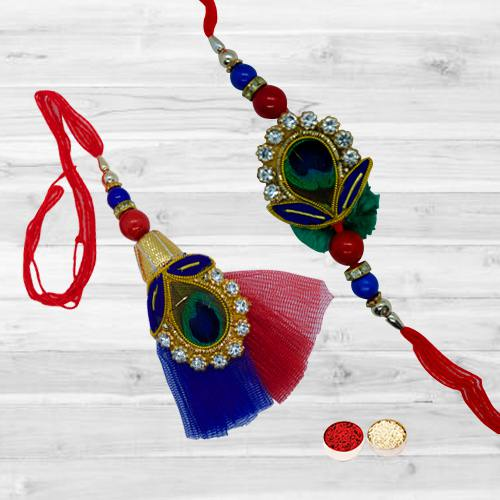 Designer Bhaiya Bhabhi Rakhi Set with Happiness