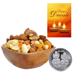 Healthy Mix Dry Fruits With Silver Plated Coin And Diwali Card