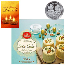 Tempting Soan Cake From Haldiram With Silver Plated Coin And Diwali Card