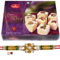 Beatific Rakhi With Haldiram Soan Papdi
