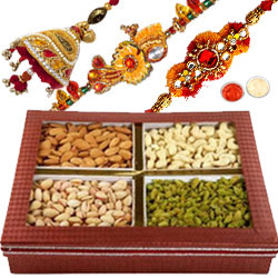 Fabulous Bhaiya Rakhis, Bhabhi Rakhi, Mixed Dry Fruits