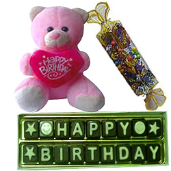 Birthday Celebration with Assorted Homemade Chocolates and Lovely Teddy