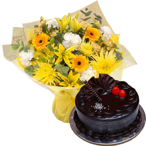 Buy Mixed Flowers Bunch with Chocolate Truffle Cake Online