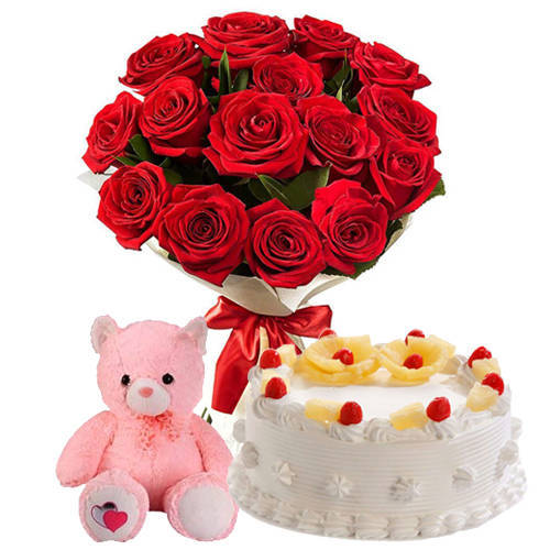 Gift Online Red Roses Bouquet with Pineapple Cake N Teddy