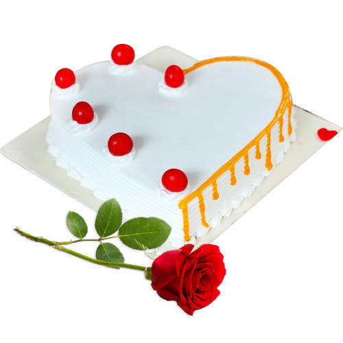 Order Heart-Shape Vanilla Cake with Single Rose  Online