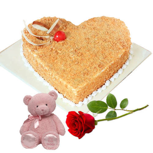 Shop Butter Scotch Cake in Heart Shape with Single Rose N Teddy Online