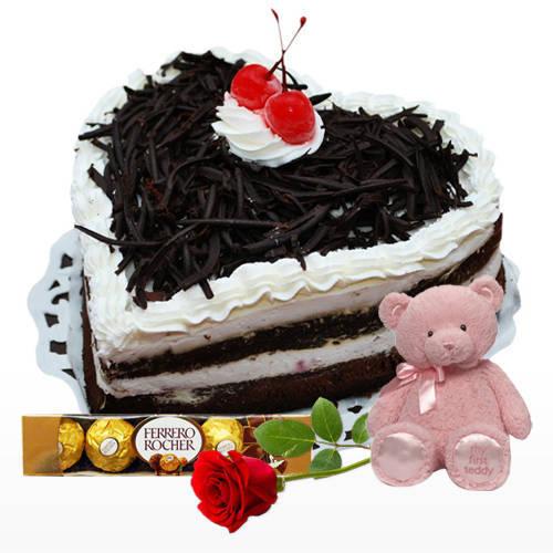 Shop Online Heart Shape Black Forest Cake with Ferrero Rocher, Teddy N Red Rose