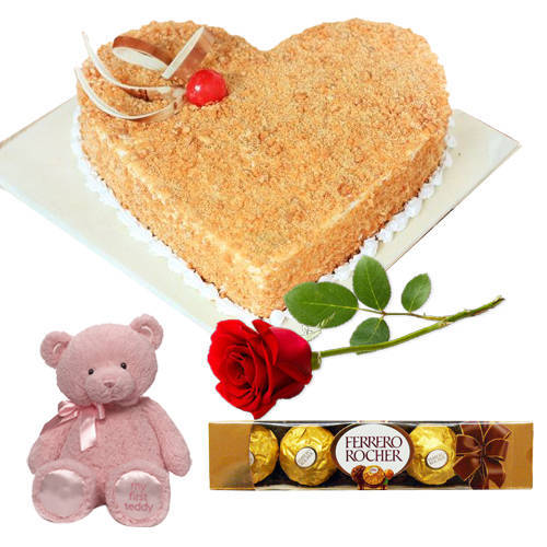 Buy Butter Scotck Cake in Heart Shape with Ferrero Rocher, Teddy N Single Rose