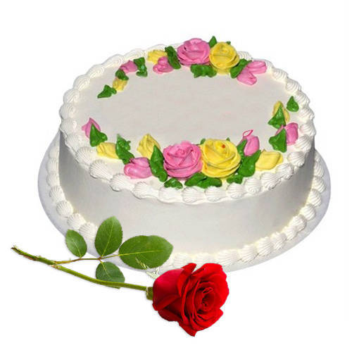 Shop Online Eggless Vanilla Cake with Single Rose