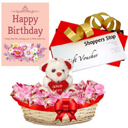 Attractive Gift Set of Shoppers Stop Gift Voucher worth Rs.1000, Sweet Teddy, Corazon Chocolate Basket and Message Card